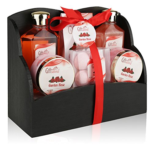 Spa Gift Basket with Heavenly Garden Rose fragrance, The Perfect Valentine's Day Gift Set for Women, Friends & Girls, Set Includes Shower Gel, Bath Bombs & Much More Packaged In A Magazine Holder.