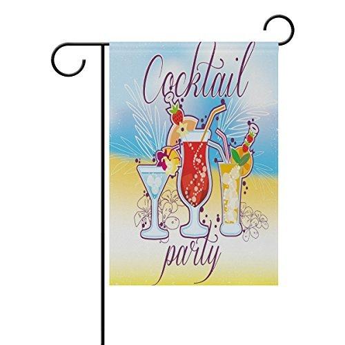 Edwiin Jackson Cocktail Party Geniet Zomer Vakantie Polyester Huis Vlag Banner 28 x 40 TwSides, Vers Sap Wijnfeest Op Strand Zee Oceaan Tuinvlaggen voor Verjaardag Yard Outdoor Decoratie