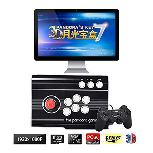 Drohneks Arcade Game Console 1080P 3D & 2D Video Game Console, 1 Player Multiplayer Home Arcade Console 2680 Games All in 1 Stick Newest Design Buttons Power HDMI VGA, QL-08