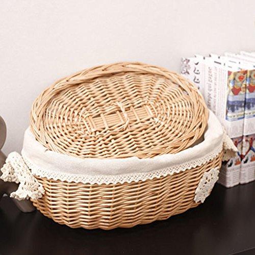 Yunt Cesta para el pan tejida a mano, cesta de mimbre extraíble y lavable, con tapa, 28 x 22 x 13 cm