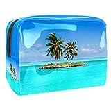 Bolsa de Maquillaje para niños Coco de mar Azul Accesorio de Viaje Neceser Pequeño Bolsas de Aseo Impermeable Cosmético Organizadores de Viaje 18.5x7.5x13cm