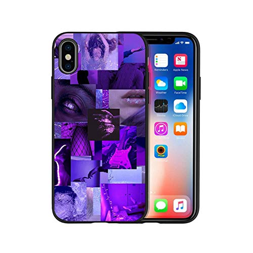 Purple Love Aesthetic Art Black Silicone Phone Case for iPhone 12 XR XS Max 5 5S SE 2020 6 6S Plus 7 8 X 11Pro Max 11 Cover-H20060103-04.Jpg-for iPhone 5 5S SE