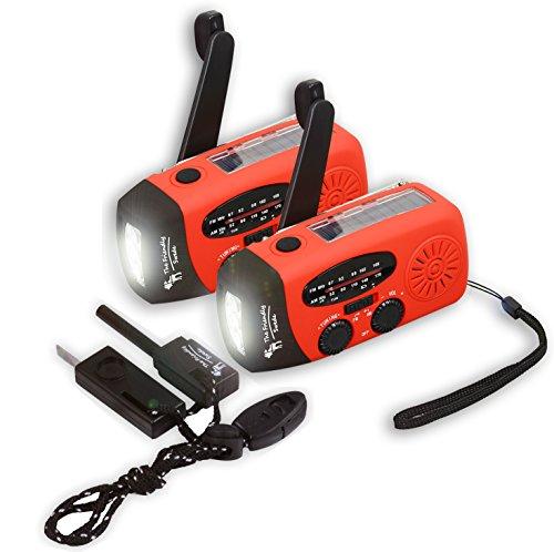 The Friendly Swede 2 er-Set Handkurbel Camping Radio mit Taschenlampe und Feuerstahl, Batterieloses Notfallradio mit Solar und Dynamo-Betrieb, Smartphone-Ladefunktion, FM/AM (rot)