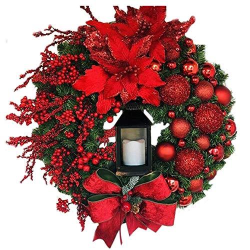 ZOELOVE Corona de Puerta de Entrada de Navidad Corona de Puerta de 50 cm decoración de Coche para Colgar en la Pared de Puerta de Navidad para el hogar Viene con Luces de Colores y Lazos (A, 1PC)