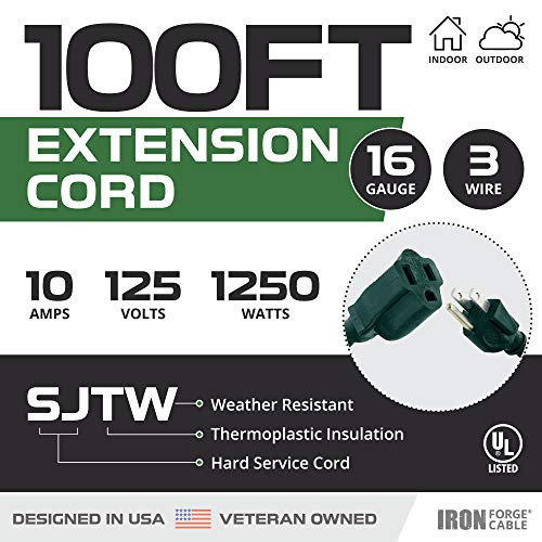 100 Foot Outdoor Extension Cord - 16/3 SJTW Durable Green Extension Cable with 3 Prong Grounded Plug for Safety - Great for Powering Outdoor Decorations