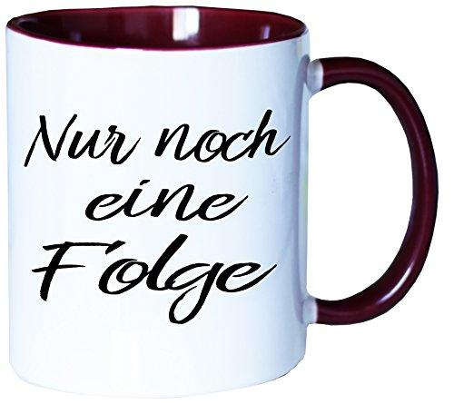 Mister Merchandise Kaffeebecher Tasse Nur noch eine Folge Netflix Prime Video netflixen Buch lesen Bücher Teetasse Becher Weiß-Bordeaux
