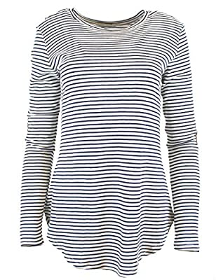 Illibox Womens Stripe Long Sleeve Shirt With Suede Elbow Patch