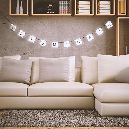Sentik® - Guirnalda de luces LED para colgar, 210 cm, con 60 pegatinas de letras reutilizables