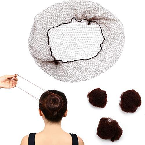 120 Stück Haarnetze Unsichtbar ElastischKante Mesh 22 Zoll Braun Nylon Unsichtbares Haarnetz für Frauen, Mädchen, Haarknoten Herstellung, Ballett Tänzer