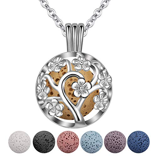 INFUSEU Aromatherapy Essential Oil Diffuser Women Necklace, Silver Plated Dreamcatcher Pendant with 6 PCS Lava Stones & Chain 24 inch, Gift for Her