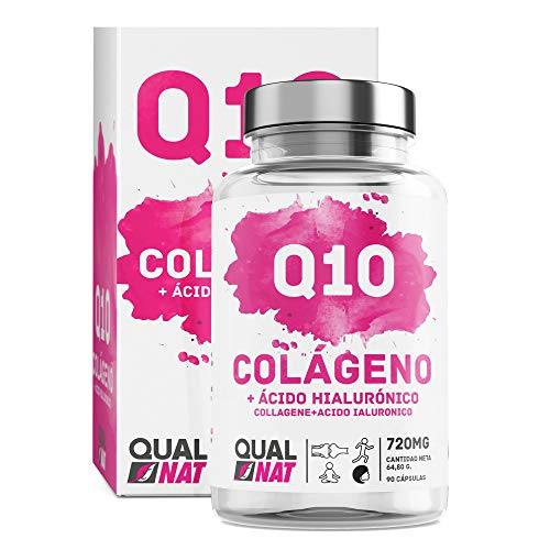 QUALNAT - Collagene con acido ialuronico e coenzima Q10, Vitamina C + Collagene Marino Q10-90 CAP