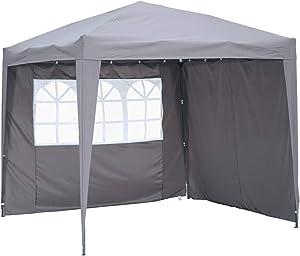 Angel Living 2.5x2.5 m Tente Pliante avec 2 Côtés, Résistant à l'eau et Aux UV, Tonnelle Pavillon avec Un Sac de Transport, Tente Pliante pour Jardin Patio à l'Air Libre (Gris)