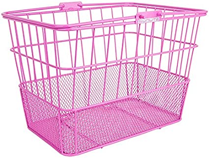 Sunlite Wire Bicycle Basket with Mesh Bottom Pink