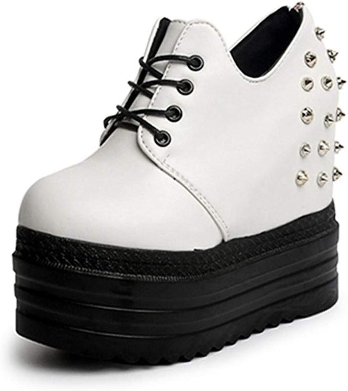 U-MAC Womens High Top Wedge Platform Sneakers Fashion Casual Rubber Sole Lace Up Rivet Punk Walking shoes