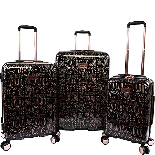 Juicy Couture Women's Florence 3-Piece Hardside Spinner Luggage Set, Black Rose Gold, One Size