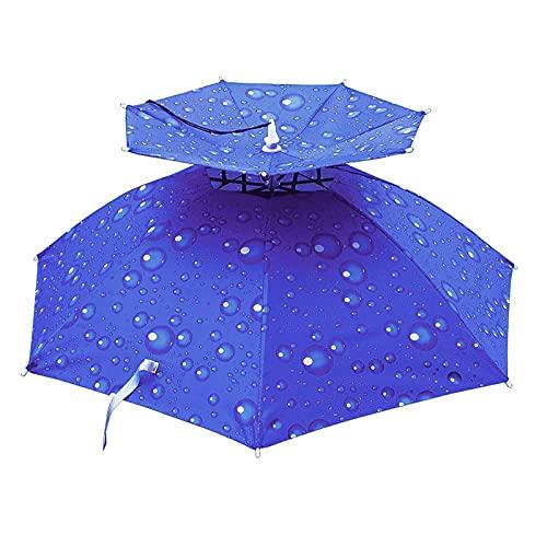 NXX Paraguas Doble Sombrero Sombrero Paraguas, Sombrero para El Sol Paraguas, Sombrero Paraguas con Banda Elástica, Proteger del Sol Y La Lluvia, Adecuado para Pesca Al Aire Libre, Camping, Golf, Pa