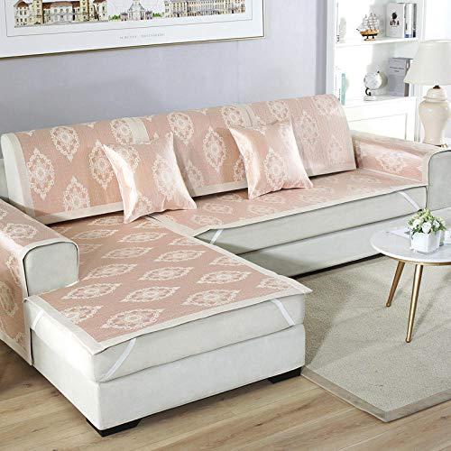 YUTJK Península Sofá Personalizable de Verano,Funda de sofá de Esquina,Fundas de Asiento de sofá de Tela para Sala de Estar,Funda Protectora de Muebles,Beige_70×120cm