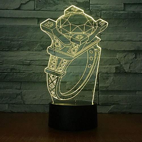 Lámpara De Mesa Decorativa De Cabecera Táctil Con Luz De Noche De 7 Colores De Dibujos Animados 3D Led Atmósfera De Regalo De Vacaciones
