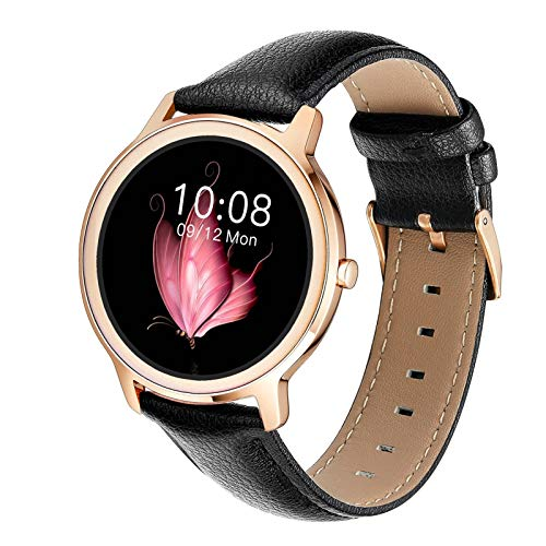 Sicherheitsuhr Smart Watch R18, Runder Touchscreen IP68 Wasserdichte Smartwatch Für Frauen, Fitness-Tracker Mit Herzfrequenz- Und Schlaf-Schrittzähler, Armband Für IOS / Android (Entwickelt Für Frauen