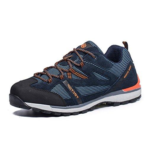 emansmoer Hommes Outdoor Imperméable Suède Sports Randonnée Trekking Chaussures Respirant Mesh Casual Lace-up Low-Top Athlétique Sneakers (Taille 43, Bleu Foncé)