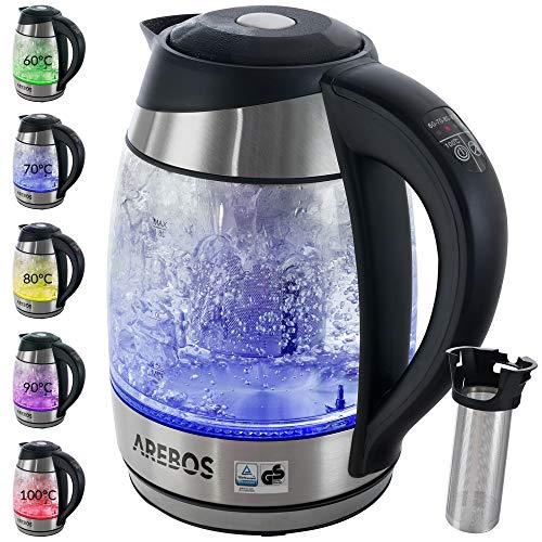 Arebos Wasserkocher mit Temperaturwahl 60-100°C/aus Glas und Edelstahl/mit LED/Farbwechsel, Warmhaltefunktion und Tee-Einsatz/BPA-Frei /1,8L / 2200W