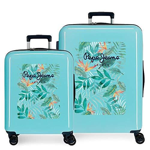 Pepe Jeans Morgan Juego de maletas Verde 55/70 cms Rígida ABS Cierre TSA integrado 119,4L 6 kgs 4 Ruedas Dobles Equipaje de Mano