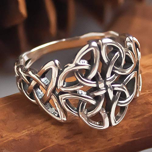 Celtic Trinity Knot Ring Sterling Silver 925 Viking Motif Norse Nordic Wiccan Jewelry Filigree Braided Irish Pattern Rings for Women Girls Handmade