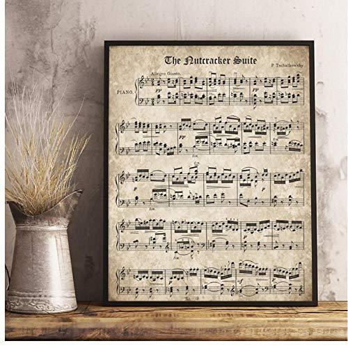 De notenkraker Vintage Blad Muziek Poster en Print Piano Muziek Canvas Schilderen Muur Foto Home Decor 50x70cm Geen Frame