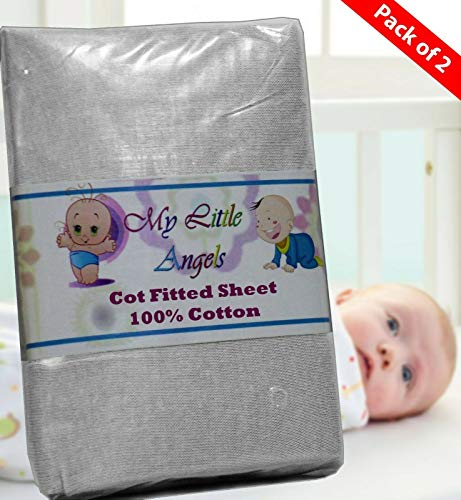 Casabella Pack Of 2 Jersey Fitted Sheet Fits Baby Crib,Cot,Junior Bed,Moses,Next2 Me_Grey-Spacesaver-55x100