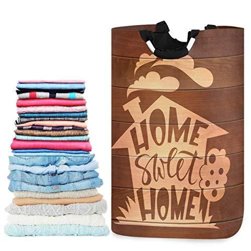 N\A Home Sweet Lettering On Wood Cesto de lavandería Grande con asa Cesto de Ropa Plegable Duradero Bolsa de lavandería Papelera de Juguete para baño, Dormitorio, Dormitorio, Viajes