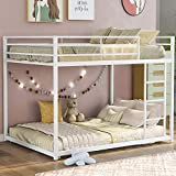 Metal Bunk Bed,Full Over Full Bunk Bed Frame,Heavy Duty Space-Saving Design,Easy Assembly with Safety Guard Rails & Side Ladder for Adults Children Teens (Low Bunk Bed-White)