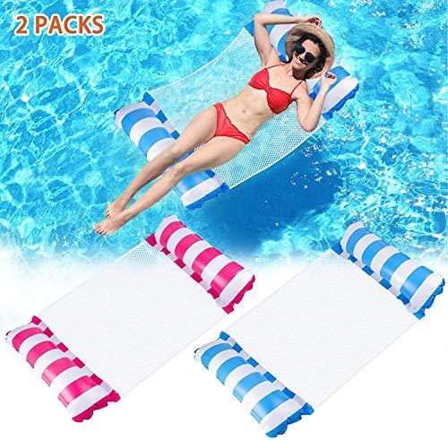 Wasserhängematte Aufblasbares Schwimmbett 2 PCs, Poolhängematten 4 in 1 Luftmatratze Pool Liegen Sessel Aufblasbar Wasser Hängematte Stuhl Schwimmmatte für Erwachsene und Kinder
