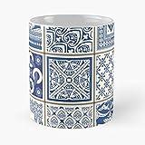 Modscrubs Lisboa Lisbon Azulejos Spanish Portuguese Azulejo Spain Portugal Taza de café con Leche 11 oz