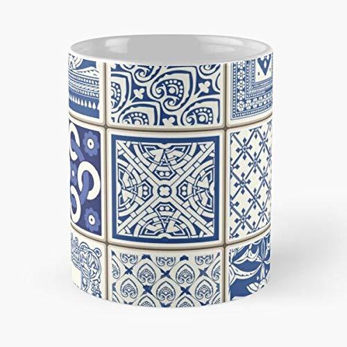 Azulejo Lisbon Azulejos Lisboa – Taza de café de cerámica blanca, 11 oz que Je personalize.