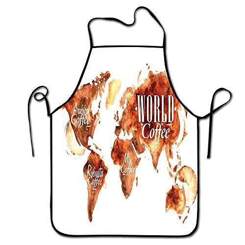 Not Applicable Kaffee Schürze Grillen Weltkarte Arabica Robusta und Mischpflanzen Geographie Themenflecken Vintage Schürze Frauen verbrannt Sienna Weiß