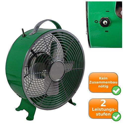 Retro Ventilator mit ca. 26cm Durchmesser, 2 Geschwindigkeitsstufen, 25Watt, Sicherheitsgitter, grün