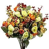 2 Ramo de Rosas Artificiales, 21 Cabezas, Flores Artificiales para Boda, Hogar, Jardín, Fiesta, Mesa Decoración, 7 Tallos, Naranja & Amarillo & Champán