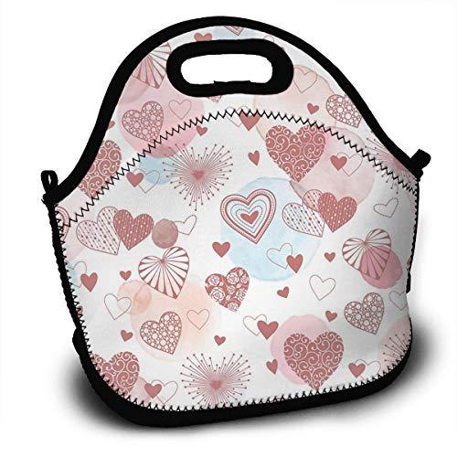 Handtasche, Aquarell Herzen Muster Lunch Einkaufstaschen Lunch Bag Lunchboxen Handtasche Leichter Lunch Container 27,5x29x14,5cm