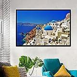 Puzzle 1000 piezas Pintura de paisaje del mar Egeo Art Deco Sea Dreamy Santorini...