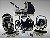 Chilly Kids Dino Cochecito de bebé combinado 3 en 1 - Cochecito de bebé y silla de paseo; Parasol (cubierta de la lluvia, mosquitero, adaptador de asiento de coche, ruedas giratorias, 55 colores) 025 Negro y Leopard