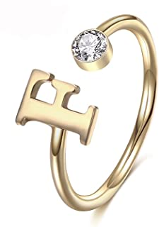 MANZHEN Personalized Gold Initial Letter Ring A-Z Stackable Ring