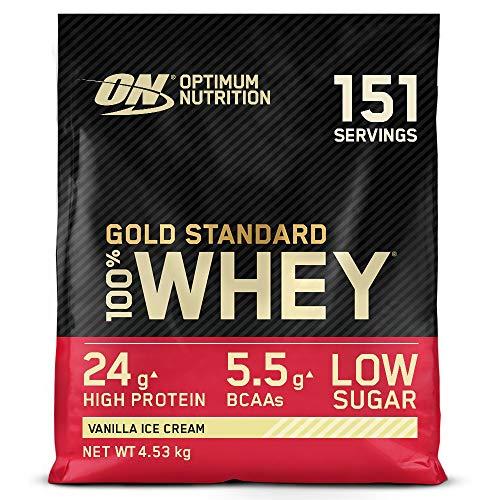 Optimum Nutrition Gold Standard 100% Whey Proteine in Polvere con Proteine Isolate, Aminoacidi per la Massa Muscolare, Gelato alla Vaniglia, 151 Porzioni, 4.53 kg, il Packaging Potrebbe Variare