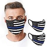 VTH GLOBAL Pack 2 Thin Blue Line Police Lives Matter Back Deputy Sheriff Law Enforcement Support American Flag Design Print Cloth Face Mask Reusable Washable Breathable Masks for Women Men