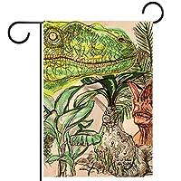 春夏両面フローラルガーデンフラッグウェルカムガーデンフラッグ(12x18inch)庭の装飾のため,手描きの恐竜