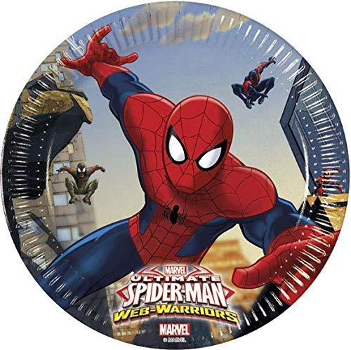Procos 85152 – Assiettes Papier Ultimate Spider Man Web Warriors, Ø20 cm, 8 pièces, Rouge/Bleu/Bleu Clair