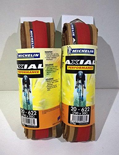 Michelin Axial Performance - Par de neumáticos, rojo 700X 20C para bicicleta