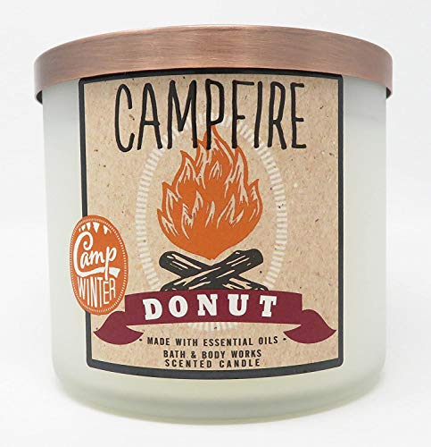 Bath and Body Works White Barn 3 Wick Candle Campfire Donut With Essential Oils Winter Camp