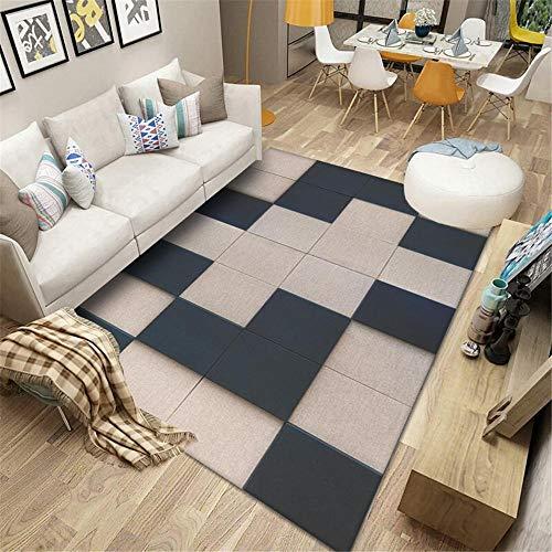 Alfombra alfombras habitacion Matrimonio El patrón de Cuadros Rectangular geométrico de Khaki Azul se Puede Lavar alfombras Alfombra Pelo Corto recibidor Moderno alfombras 80*120cm
