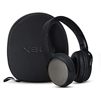 Xech Wireless Bluetooth Headphone with Carrying Case, A8 On Ear Headphones with Voice Assist 9 Hours Playtime with Super Soft Cushions, Deep Bass Foldable Headset Noise Isolation (Black)