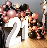 Rose Gold Balloon Garland Arch Kit 70pcs Black and Rose Gold Confetti Latex Balloon with Glue Dots Curling Ribbon Party Balloon for Bridal Shower Birthday Party Backdrop Decorations